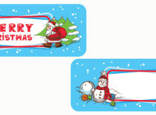 Christmas Season Vector Banner, Winter Labels With Snowman and Santa Claus