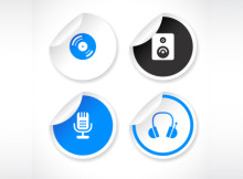 Set of Blue and White Vector Stickers with Icons