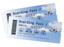 Airline boarding pass tickets to Rome